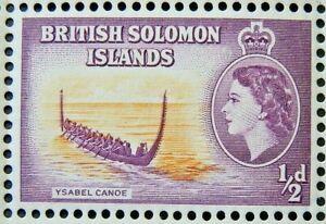 BRITISH SOLOMON ISLANDS 1956-63 SG82 QEII ½d. YSABEL CANOE  -  MNH
