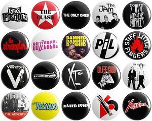 20 x Punk Rock Bands BUTTON PIN BADGES 25mm 1 INCH   Various Artists UK