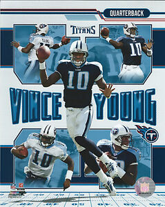 VINCE YOUNG TENNESSEE TITANS 8 X 10 PHOTO WITH ULTRA PRO TOPLOADER