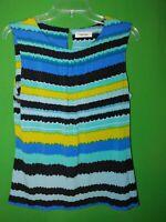 3033) CALVIN KLEIN medium M  pullover polyester knit top sleeveless blue M