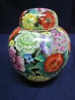 Covered Jar Gold Stamped Multi Colored Fantastic Colors Rare Signed