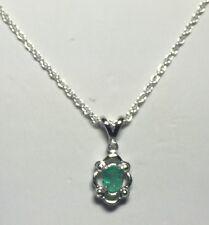 NUEVO Plata de Ley Original Esmeralda & Diamante Colgante con 45.7cm Collar