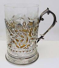 Vintage RUSSIAN 84 Silver Large Tankard Mug Glass Holder