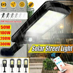 300W LED-Solar-Street Wall Light PIR-Motion-Sensor Outdoor-Lamp & Control-Remote