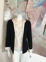 VINTAGE Two Piece Blouse Silk Wool Black White Womens Jacket Blouse R SZ Small