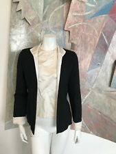 Vintage Two Piece Blouse Silk Wool Black White Womens Jacket Blouse R Sz Small