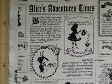 LECIEN GIRL'S STORY Alice in Wonderland Newspaper Natural - Japanese Fabric