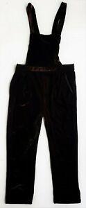 ZARA Girls CHOCOLATE VELVET Dungarees Jumpsuit Playsuit 11-12 Pants Xmas Party