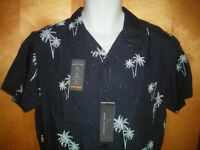 NWT NEW mens size S navy blue aqua MARC ANTHONY slim fit luxury fabric s/s shirt