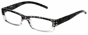 Calabria 743 Designer Reading Glasses w/Matching Case in Black Circuit +3.25