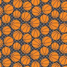 Fabric Basketballs on Grey Flannel 1/4 Yard