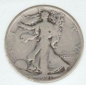 1921 D Very Good VG Walking Liberty Silver US Half Dollar 50C