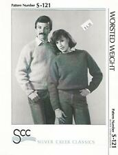 Raglan Pullover Sweater Knitting Pattern S121 Silver Creek Women Mens 34-44