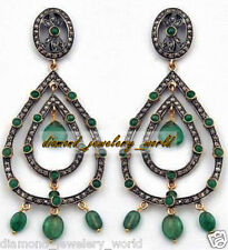 Emerald Studded Silver Jewelry Earring Estate Victorian 4.09cts Rose Cut Diamond