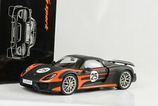 1:18 918 Porsche Paquete de Weissach Naranja Mate Negro Spyder Cerrado Spark