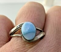 Caribbean Larimar Oval Ring In Sterling Silver Sz 8.75   #3