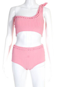 Solid & Striped Womens One Shoulder High Waist Bikini Swimwear Pink Size S