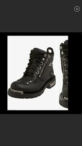 """Harley-Davidson Havoc Womens Pull Dual Zip Leather 5"""" Motorcycle Riding Boot 6.5"""