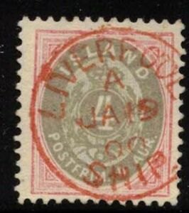 Iceland 4 aur pink and gray with LIVERPOOL SHIP cancel