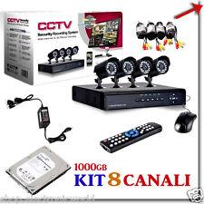 KIT VIDEOSORVEGLIANZA 8 CANALI HARD DISK 1000GB 8 TELECAMERE DVR 8 CH CAVI