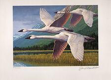 ALASKA #4 1988  STATE DUCK STAMP PRINT MEDALLION   ED  TRUMPERTER SWANS Reg $350