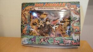 VINTAGE ZOO ANIMALS SET EDUCATIONAL TOY MADE IN HONG KONG GREAT ARTWORK TO BOX