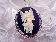 QUALITY CHRISTMAS GUARDIAN ANGEL Cameo PHOTO gold SILVER Box Necklace Locket urn
