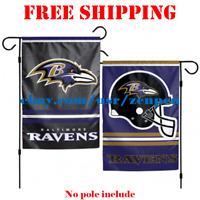 "Baltimore Ravens Logo Garden Outdoor Flag Double Sides 12x18"" NFL 2019 Fan NEW"