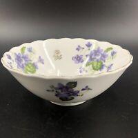 "Vintage Lefton Purple Violets 6"" X 2.5"" Bowl White Gold Gilt Edge Exc"