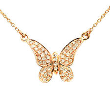 NATURAL 14K ROSE GOLD NATURAL PAVE DIAMOND BUTTERFLY PENDANT CHARM NECKLACE