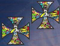 2x IRON CROSS STICKER BOMB Colour Car/Van/Window/Bumper/Laptop Printed Stickers