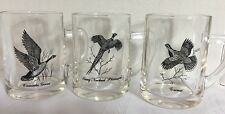 CANADA GOOSE GROUSE RING NECK PHEASANT CLEAR COFFEE MUGS 13oz SET OF 3