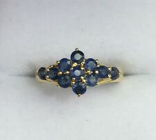 14k Solid Yellow Gold Flower Cluster Band Ring Natural  Sapphire 1.0TCW, Sz 7.25