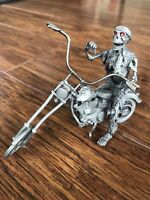 Vintage 1991 Partha Pewter Motorcycle Chopper Skeleton Rider