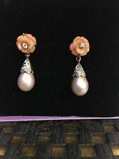 925 sterling silver coral flower diamonds earrings natural love nirvana jewels01