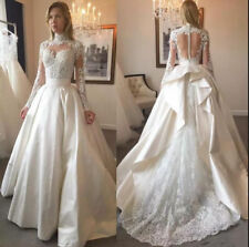 Elegant High Neck Wedding Dresses Bridal Gowns Long Sleeve Custom Top Lace 2018