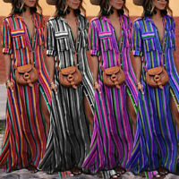 Womens Button Rainbow Stripe Short Sleeve Boho Maxi Long Dress Loose Shirt Dress