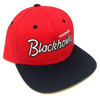 NHL CHICAGO BLACKHAWKS TEXT LOGO RED BLACK FLAT BILL ADJUSTABLE SNAPBACK HAT CAP