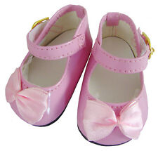 "For 18"" American Girl Doll Clothes Pink Patent Dress Shoes Satin Bows"