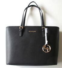 NEW Michael Kors Jet Set Travel Top Zip Tote Black Leather Shoulder Bag $278 NWT
