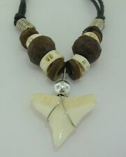 Shark tooth pendant coconut shell and white surf beads cord necklace 16mmx16mm