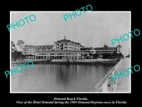OLD LARGE HISTORIC PHOTO OF ORMOND BEACH FLORIDA, VIEW OF HOTEL ORMOND c1905