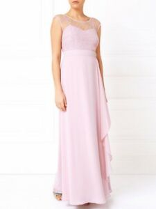 Jacques Vert Maxi Dress Pink Lace Bridesmaid Evening Gown BNWT UK 16 US 12 £199