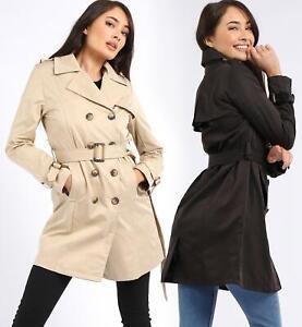 Womens Trench Coat Ladies Mac Jacket Size 8 10 12 14 16 Beige Black Stone