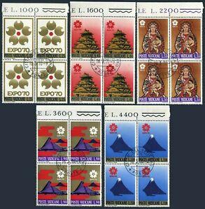 Vatican 479-483 blocks/4,CTO. EXPO 1970,Osaka.Castle,Virgin & Child,by Domoto.
