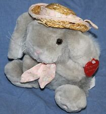"Chosun EASTER BUNNY RABBIT 7"" Gray Plush Pink Nose Flower Tie Straw Hat Soft Toy"