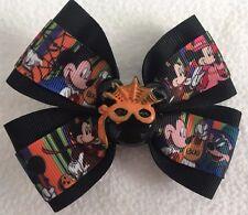 "Girls Hair Bow 4"" Wide Mickey Minnie Halloween Black Flatback French Barrette"