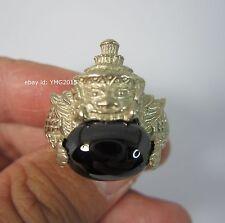 """Rahu Alpacca Ring""with Black Gem of Thai Powerful Amulet US/British Size# 8.5/Q"