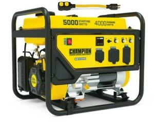 Champion Power Generator 5000 4000 Watt Portable Dual Voltage 120 240 Cold Start