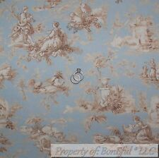 BonEful Fabric FQ Cotton Decor VTG Blue Tan Off White VTG Antique Flower Toile S
